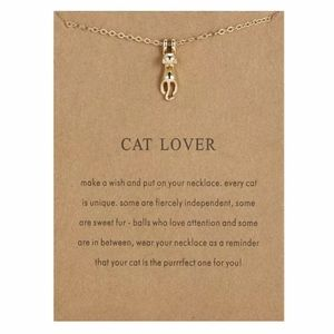"Gold ""Cat Lover"" Cat Pendant Necklace"